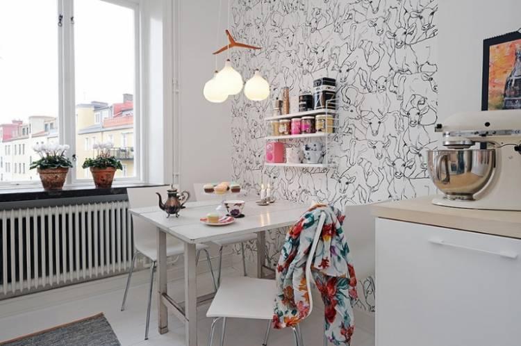 обои для маленькой кухни 6 кв м современные идеи 2018 2019 года