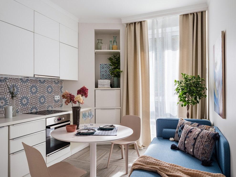 дизайн кухни 10 кв метров с диваном