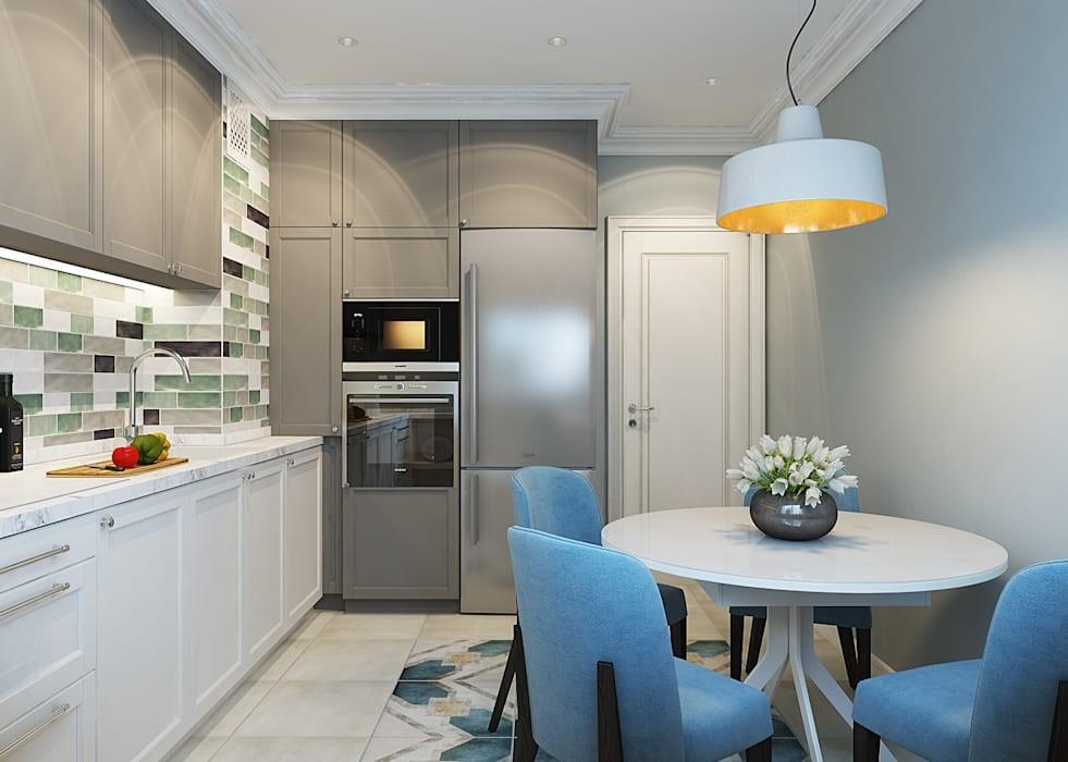 дизайн кухни 10 кв метров с холодильником