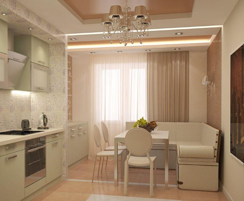 Современный интерьер кухни с мебелью